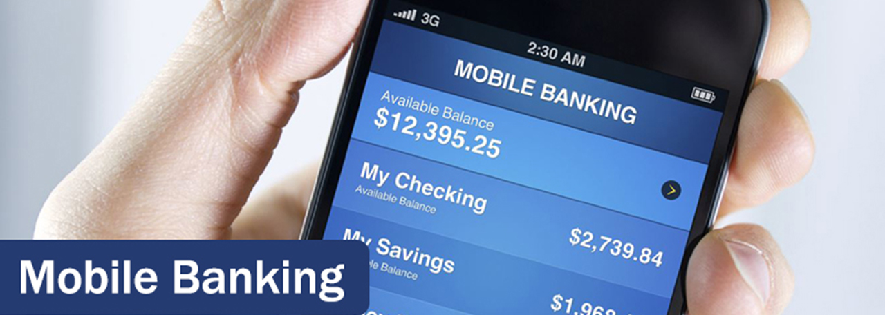 mobile banking image of a cellphone open to a mobile banking app